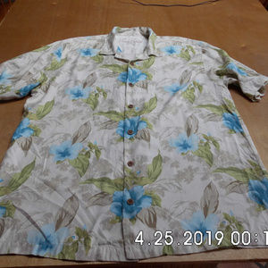 Men's Tommy Bahama Silk Floral Shirt Lg